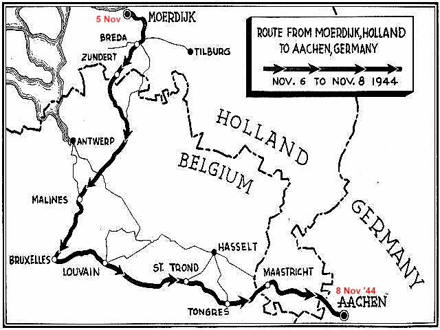 Map - Holland to Germany (motor convoy)